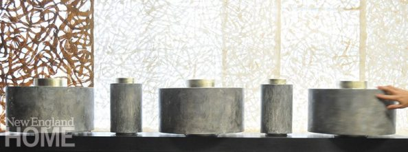 Wooden Prayer Wheels feature tops gilded in 12-karat gold and bases made to look and feel like marble.