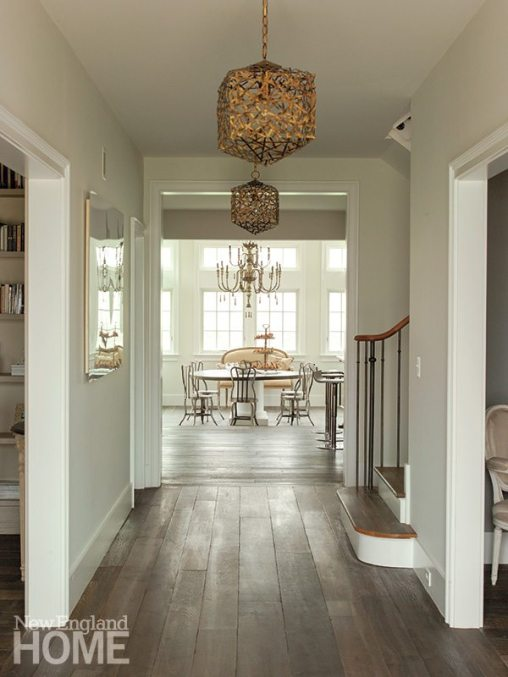 Confetti Cube pendants by Currey & Company grace the hall leading to the conservatory/breakfast room.