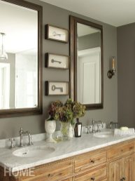 Anne-Laure framed a set of antique keys in lieu of a painting for the master bath.
