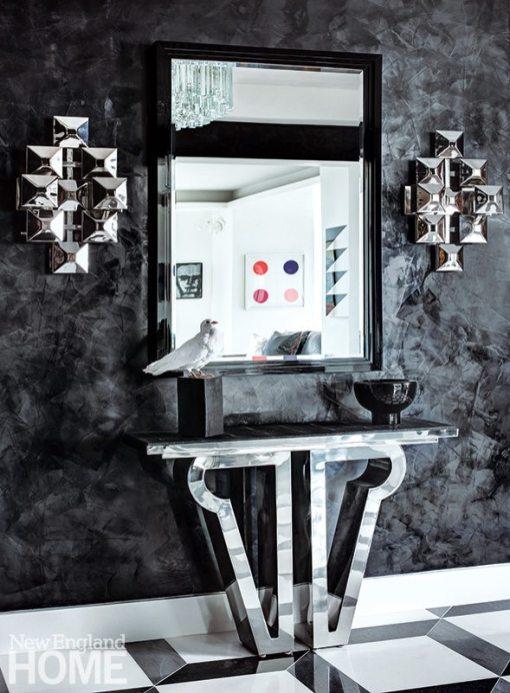 Contemporary Boston apartment mirror and console