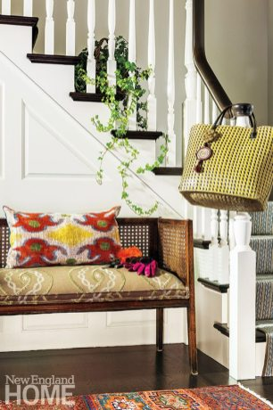 """""""I like seating in an entryway,"""" says interior designer Mally Skok. """"It does double-duty; it looks welcoming and you can dump your things."""""""