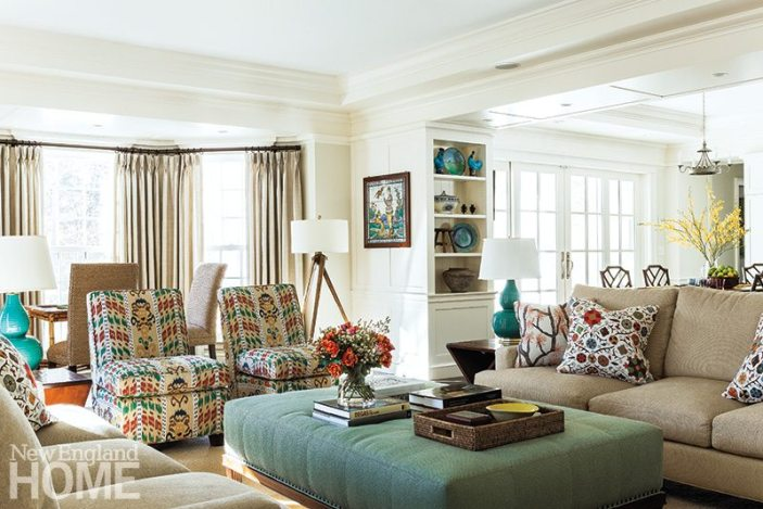 Fabric from Skok's Ikat Crazy collection adds a dash of color and fun to the relaxed family room.
