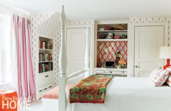 The daughter's bedroom is dressed in fabrics from Skok's India Collection.