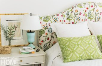 The focal point of the master bedroom is this joyful hand-embroidered headboard by Eric Cohler for Lee Jofa.