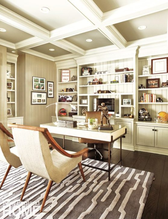 Rob's office has a quiet palette energized by the play of the coffered ceiling off the vertical wall paneling and a mix of textures from plush to glossy.