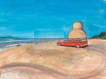 Sandy Beach (2007), oil and postcards on wood panel, 147⁄8″H × 197⁄8″W