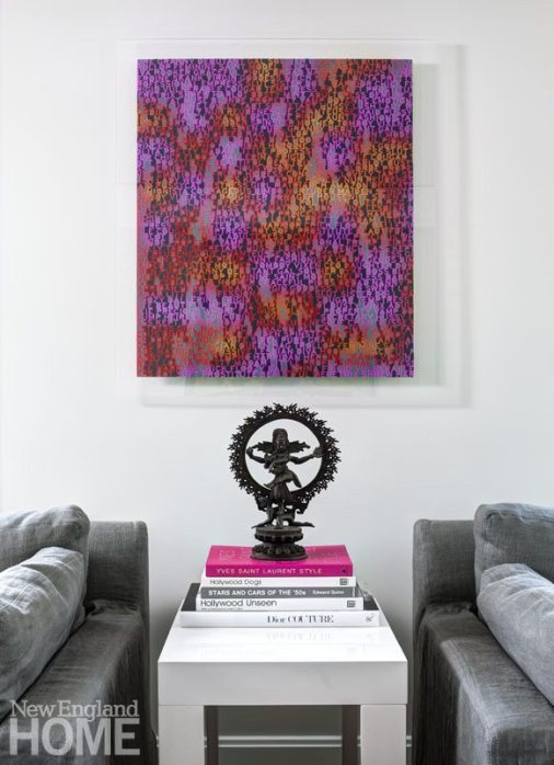 Lively artwork adds energy to the media room,