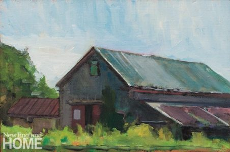 Whiting Barn (2013), oil on board, 8″H × 12″W.