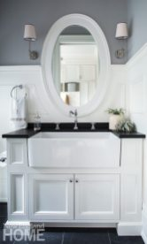 A farmer's sink is a practical addition to the mudroom.