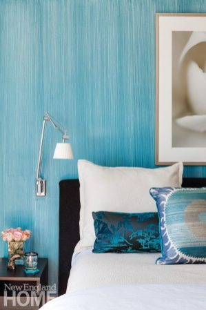 Master bedroom walls wear a strié treatment in luscious blue.