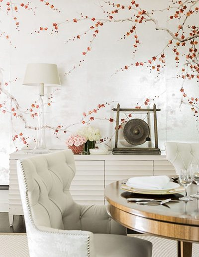 Tony Cappoli Dining Room with Cherry Blossom Wallpaper