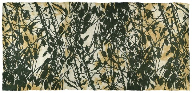 """Branch to Branch"" (Green Print Portfolio), editioned woodcut, 19""€ x 42"""