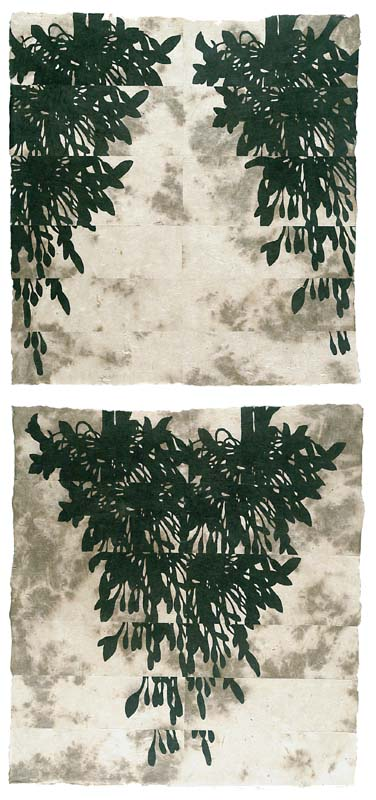 """Structure in Nature"" (Green Print Portfolio), editioned woodcut, 60""€ x 30""€ and 34""€ x 16"""
