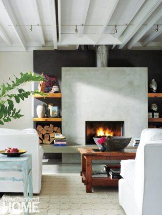 Famhouse Modern Living Room Fireplace