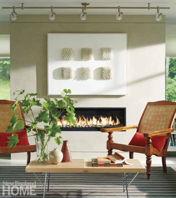 Farmhouse Modern Mitra Designs Striped Rug and Fireplace