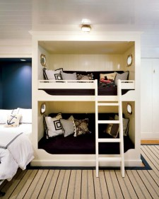 On the ground level, bunk beds welcome visitors.