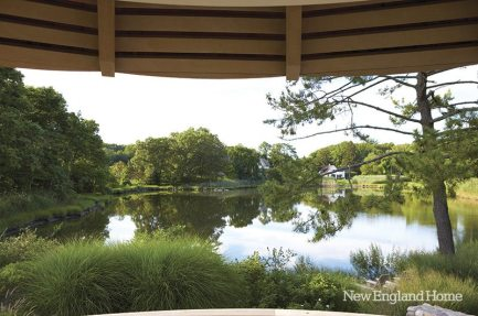 Distant views of a tidal pond can be glimpsed from the poolside gazebo.