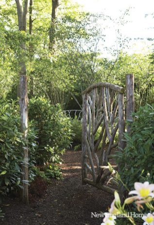 A rustic twig gate from Romancing the Woods.