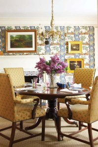 Designer Nancy Serafini's talent for marrying patterns plays out again in the dining room.