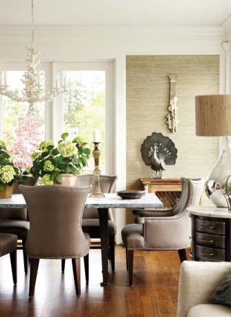 "Texture €""in the grass cloth wallpaper, linen dining chairs and oxidized zinc table top-plays a big role in the design."