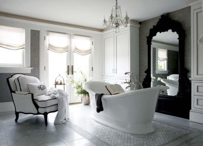 A freestanding tub is the focal point of the third-floor master suite's bath.