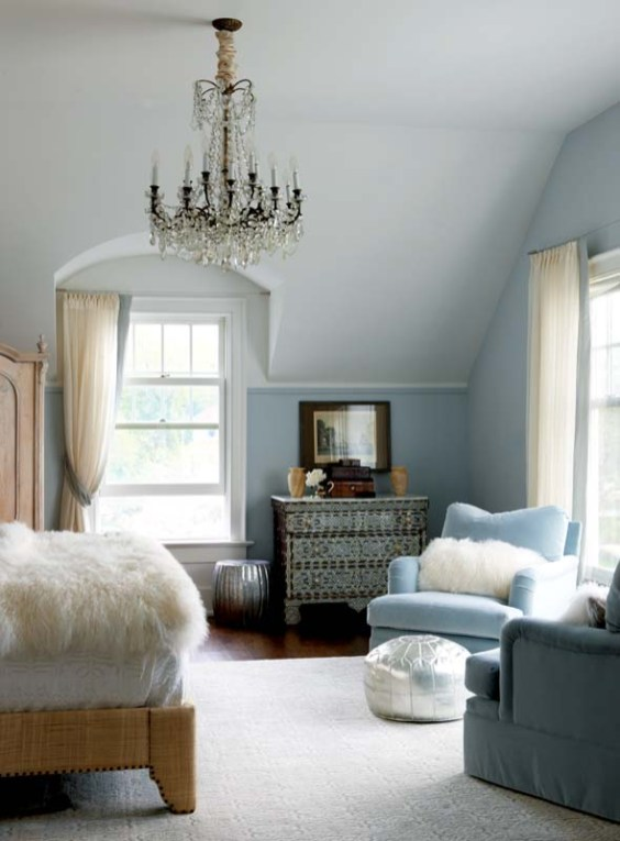 The master bedroom's pewter-colored walls are hand-painted to look like damask.
