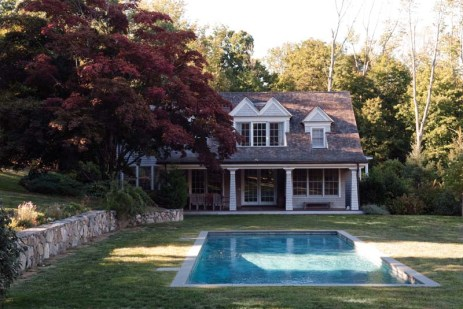 The secluded lot has an expansive backyard.