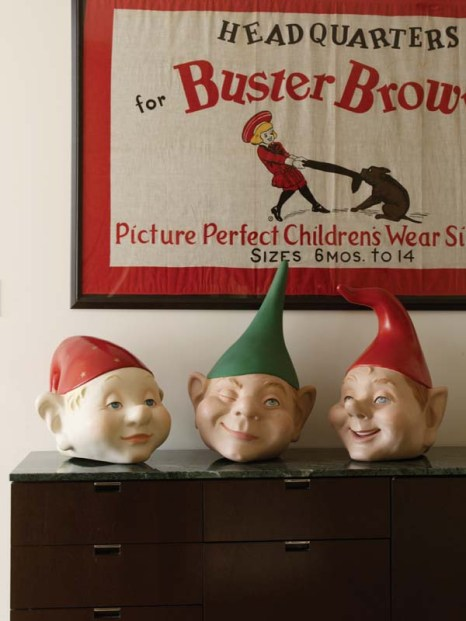 Whimsical elf heads sit beneath a Buster Brown flag Gallipoli found for $15.