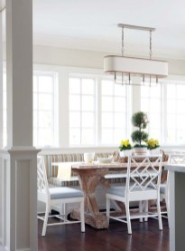 A distressed trestle table and a wipe-clean banquette make the breakfast area child-friendly.