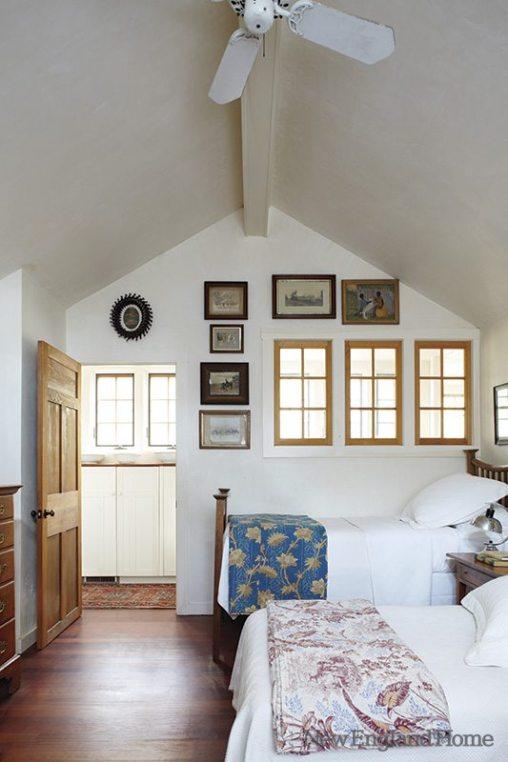 The guest room's interior windows borrow hall light.