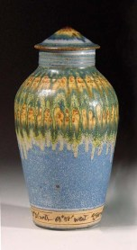 """Tall Jar,"" Atlantic Ocean sediment from east of Virginia and lavender glaze, 13.5""H x 8€""W"
