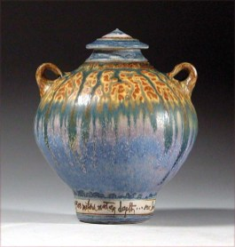 """Urn"" (2008), Atlantic Ocean sediment and lavender glaze on stoneware, 9""H x 9""W"