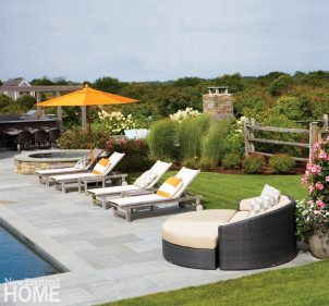Contemporary Nantucket Shingle Style Pool Lounge Chairs