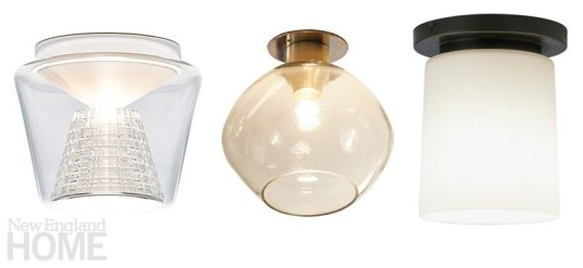 Surface-mount fixtures from Serien Lighting, O'Lampia Studio, and Robert Abbey offer understated chic.