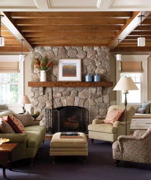 Country Club Homes Shingle Style Family Room