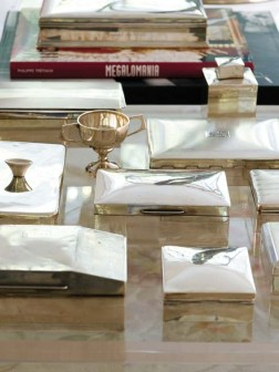 A collection of sterling-silver boxes show designer Kristin Gallipoli's penchant for display.
