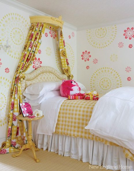 What little girl wouldn't love the sweet bedroom of pink and yellow on white designed by Jean Poulin?
