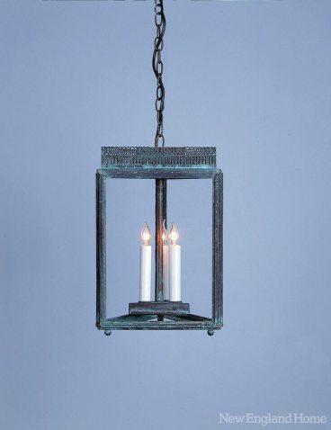 Reproduction of a Federalist-era triangular hanging lantern.