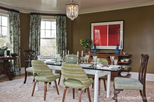In the dining room, Miller mixed Scalamandré drapery fabric, a rug from Afghanistan and an eclectic array of furniture.