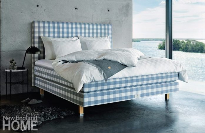 This Special Edition bed from Hästens sports a version of the company's signature blue plaid.
