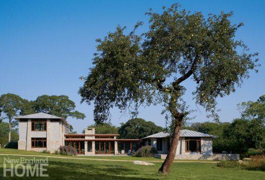 Exterior Frank Lloyd Wright inspired home on Martha's Vineyard designed by Debra Cedeno