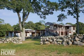 Exterior Frank Lloyd Wright inspired home on Martha's Vineyard designed by Debra Cedeno