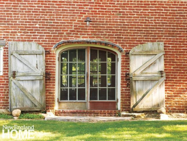 Stone Barn near Frank Lloyd Wright inspired home on Martha's Vineyard designed by Debra Cedeno
