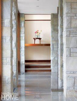 Entryway of Frank Lloyd Wright inspired home on Martha's Vineyard designed by Debra