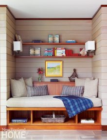 Reading nook of Frank Lloyd Wright inspired home on Martha's Vineyard designed by Debra Cedeno