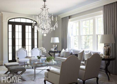 Elegant neutral living room in Brookline designed by Meyer & Meyer.