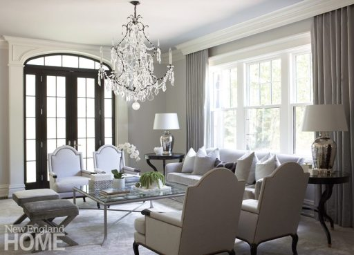 Elegant neutral living room in Brookline designed by Meyer & Meyer.