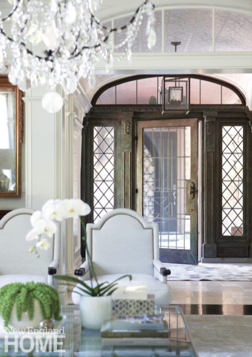 Large doors with leaded glass