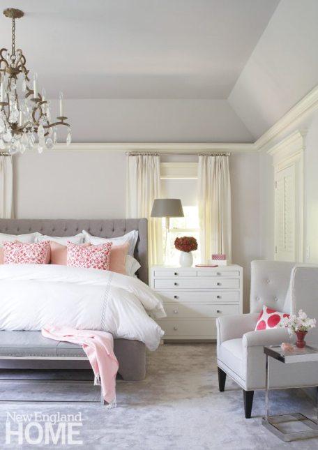 Elegant white master bedroom designed by Meyer & Meyer.