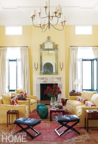 Litchfield County Neoclassical Living Room